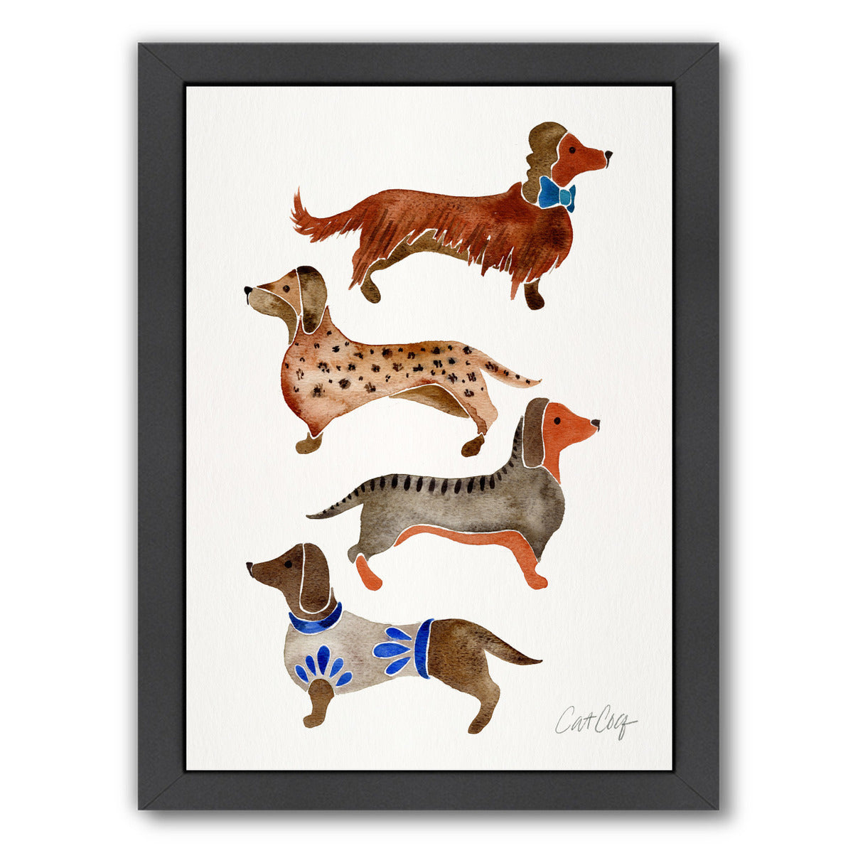 Dachshunds by Cat Coquillette Framed Print - Americanflat