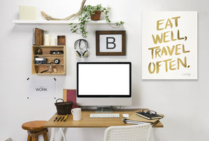 Eat Well Travel Often Gold by Cat Coquillette Wrapped Canvas