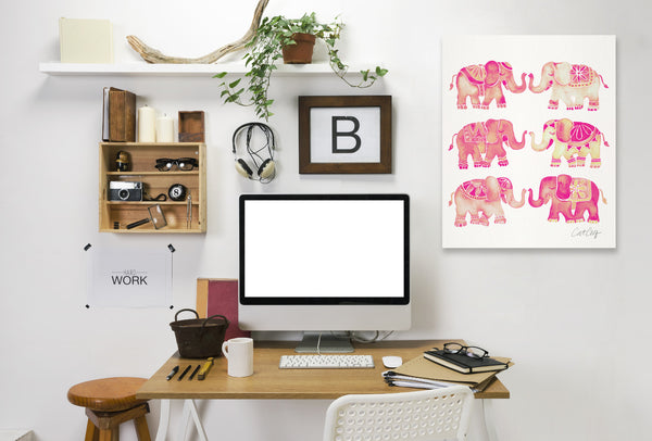 Elephant Collection Pink by Cat Coquillette Wrapped Canvas
