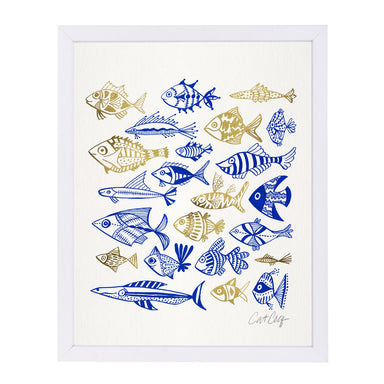 Fish In Clings by Cat Coquillette White Framed Print - Wall Art - Americanflat