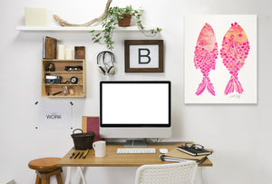 Indonesian Fish Pink by Cat Coquillette Wrapped Canvas