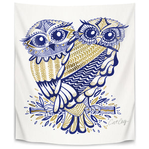 Inked Owls by Cat Coquillette Tapestry