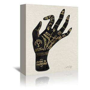 Palmistry Black And Gold by Cat Coquillette Wrapped Canvas