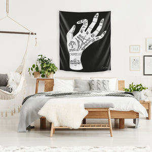 Palmistry Black And White by Cat Coquillette Tapestry