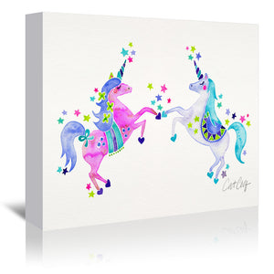 Pastel Unicorns by Cat Coquillette Wrapped Canvas