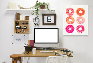 Pink Half Dozen Donuts by Cat Coquillette Wrapped Canvas