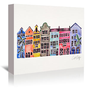 Rainbow Row by Cat Coquillette Wrapped Canvas