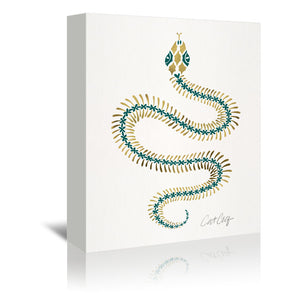 Serpent Skeleton On Emerald Gold by Cat Coquillette Wrapped Canvas