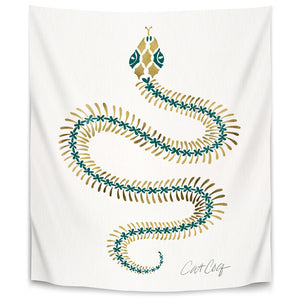 Serpent Skeleton Emerald Gold by Cat Coquillette Tapestry