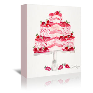 Strawberry Short Cake by Cat Coquillette Wrapped Canvas