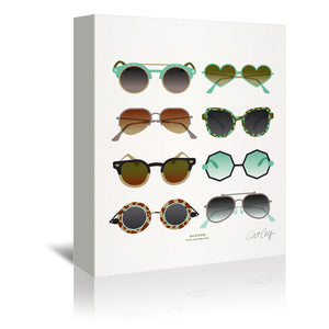 Sunglasses Mint And Sepia by Cat Coquillette Wrapped Canvas