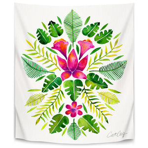 Tropical Symmetry Pink And Green by Cat Coquillette Tapestry