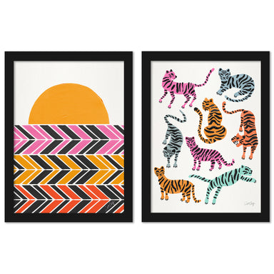 Warm Retro Sunset by Cat Coquillette - 2 Piece Framed Print Set - Americanflat