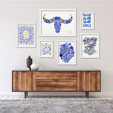Navy Blue & Gold Modern Framed Art Set - Framed Print - Americanflat