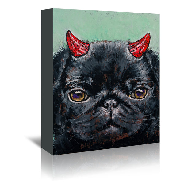 Devil Pug by Michael Creese Wrapped Canvas