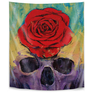 Skull With Red Rose by Michael Creese Tapestry
