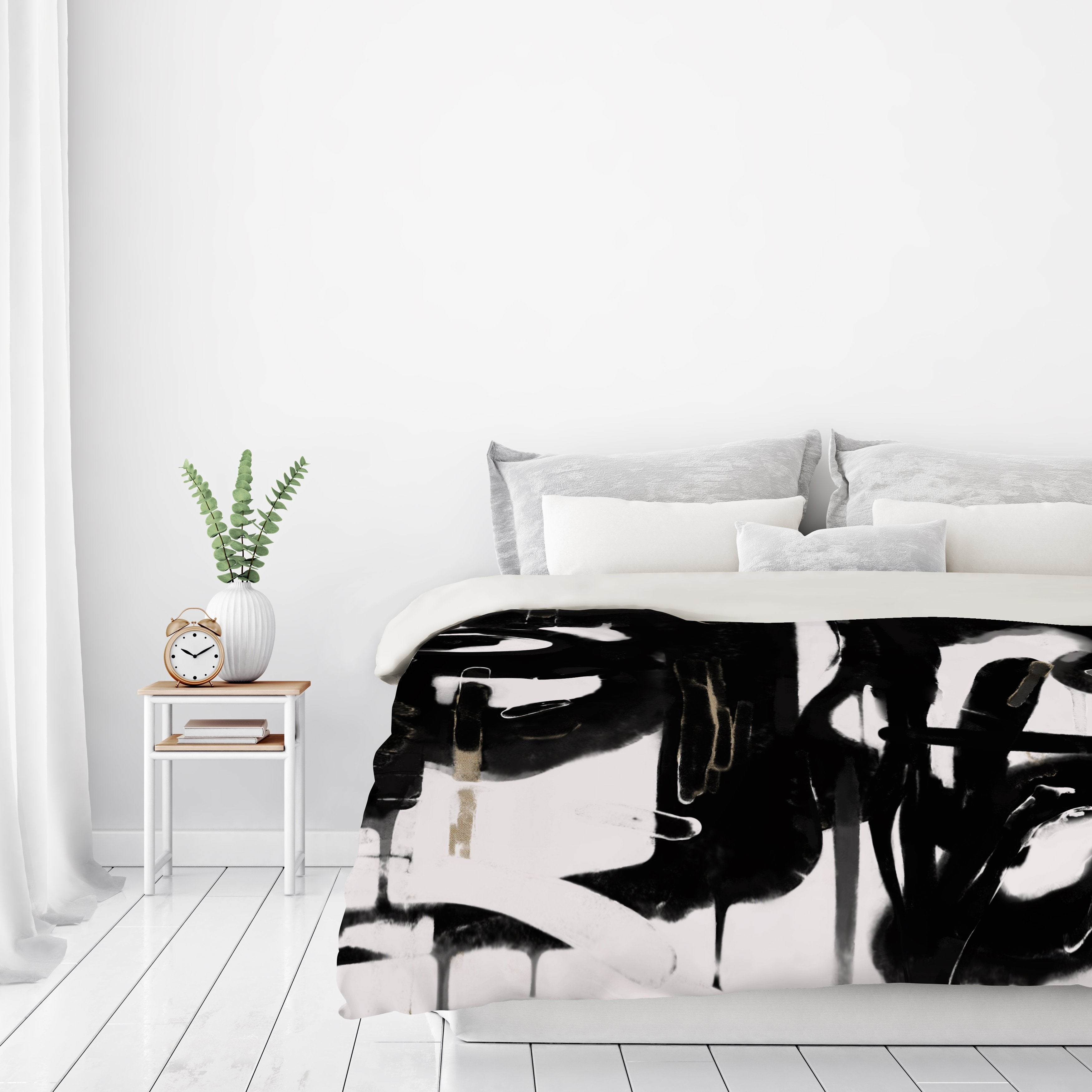 Black And White Abstract 5 by Kasi Minami Duvet Cover - Duvet Covers - Americanflat