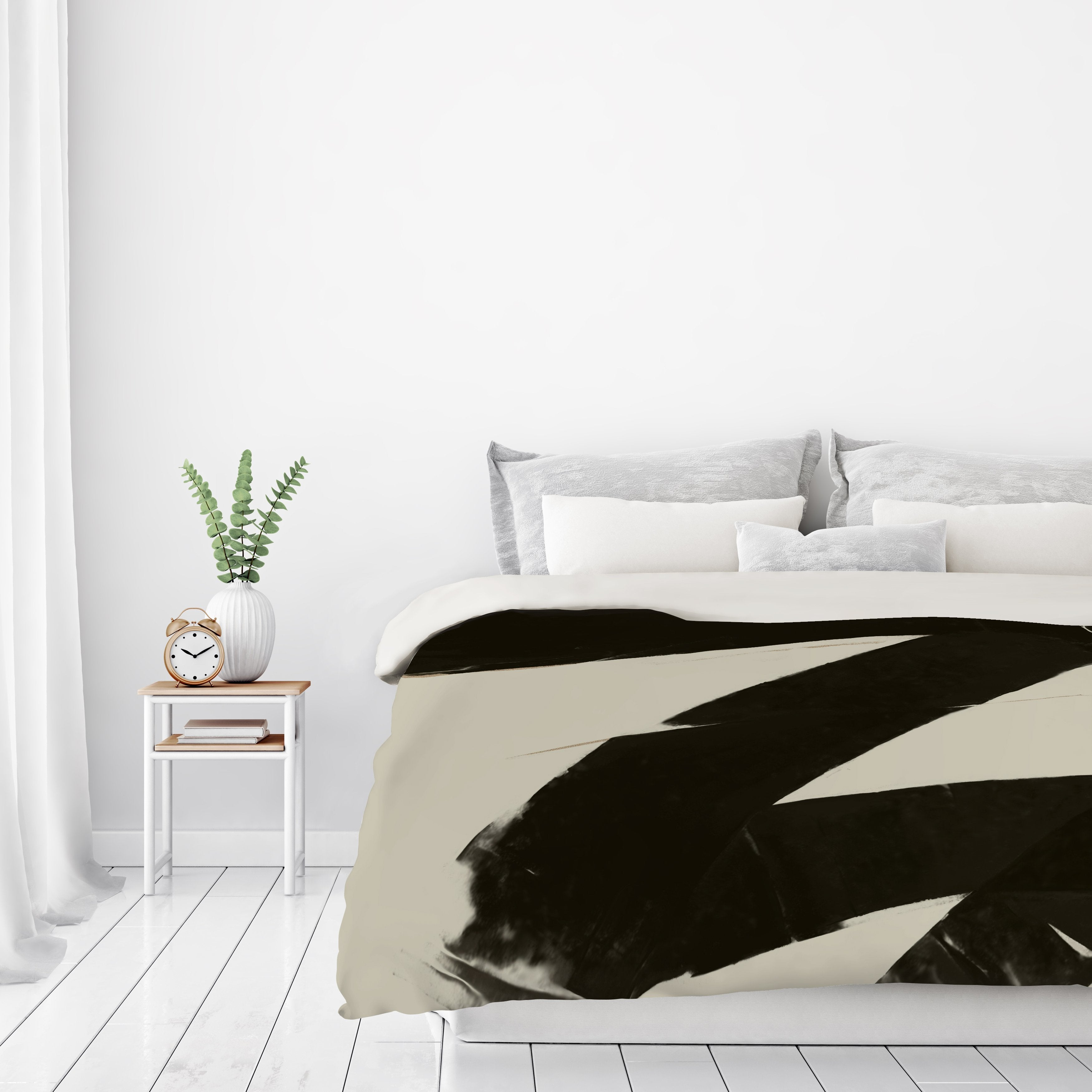 Black And Taupe Abstract by Kasi Minami Duvet Cover - Duvet Covers - Americanflat