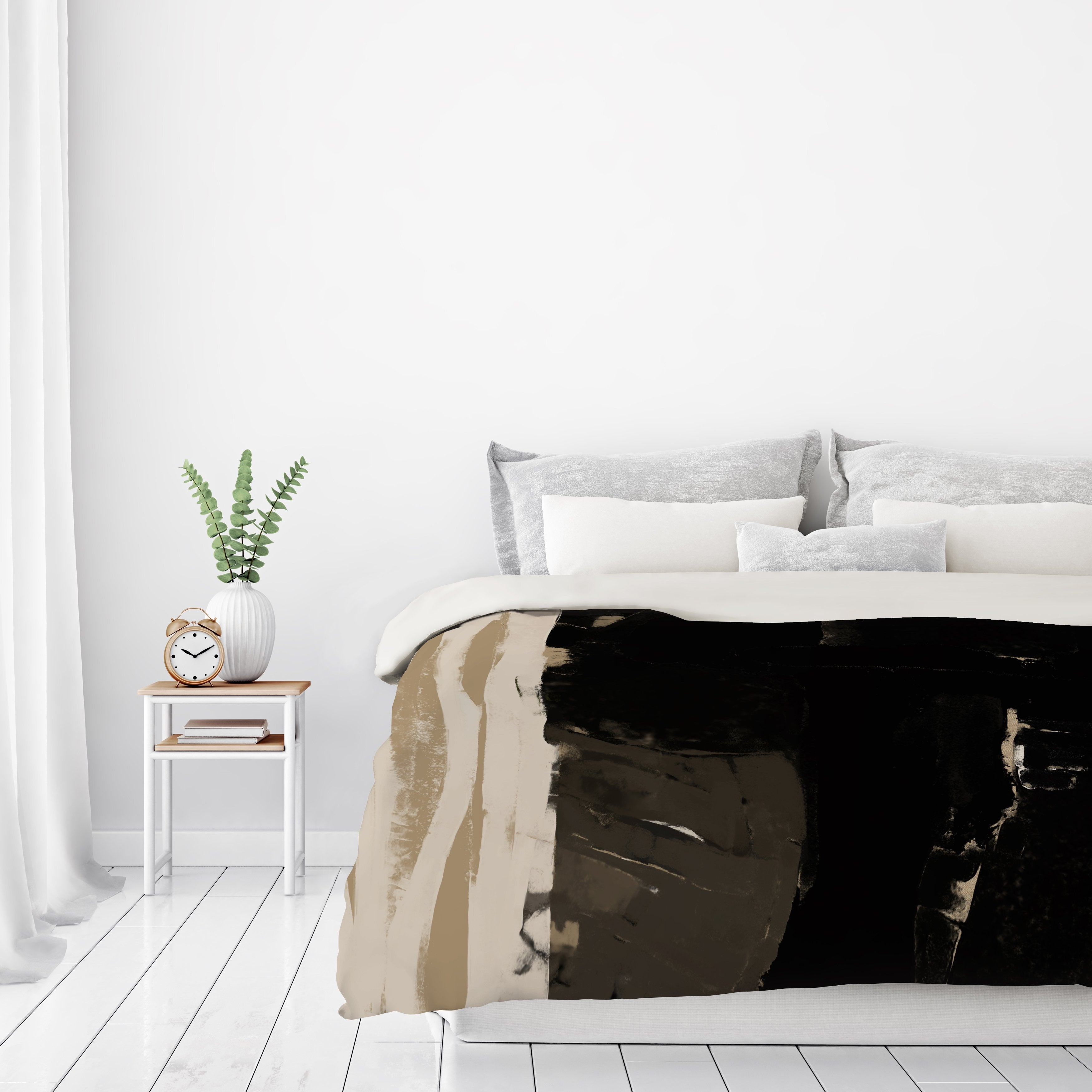 Black And Taupe Abstract 2 by Kasi Minami Duvet Cover - Duvet Covers - Americanflat