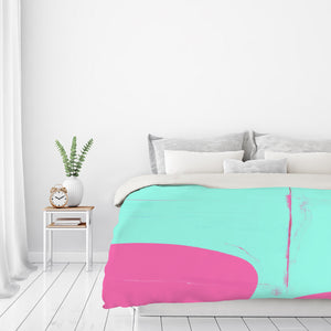 Pink And Cyan Abstract by Kasi Minami Duvet Cover