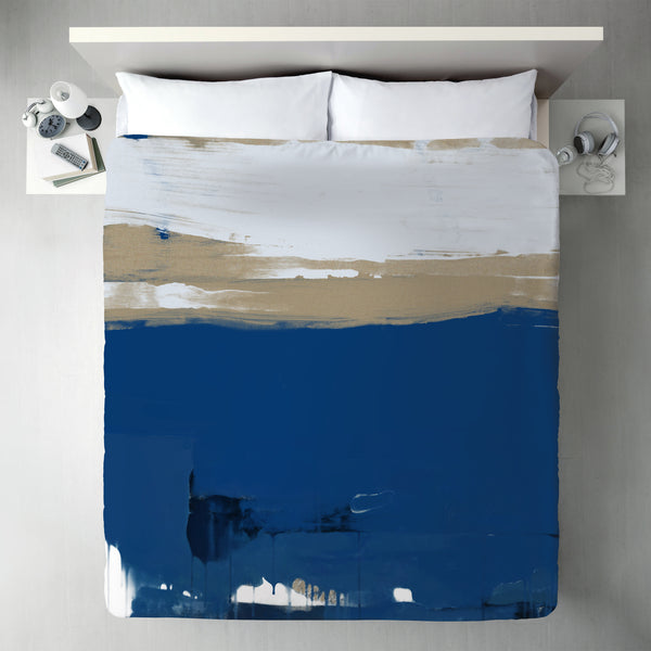 White And Blue Abstract by Kasi Minami Duvet Cover