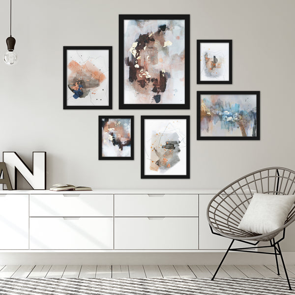 Contemporary Abstract Blush Tones Framed Art Set