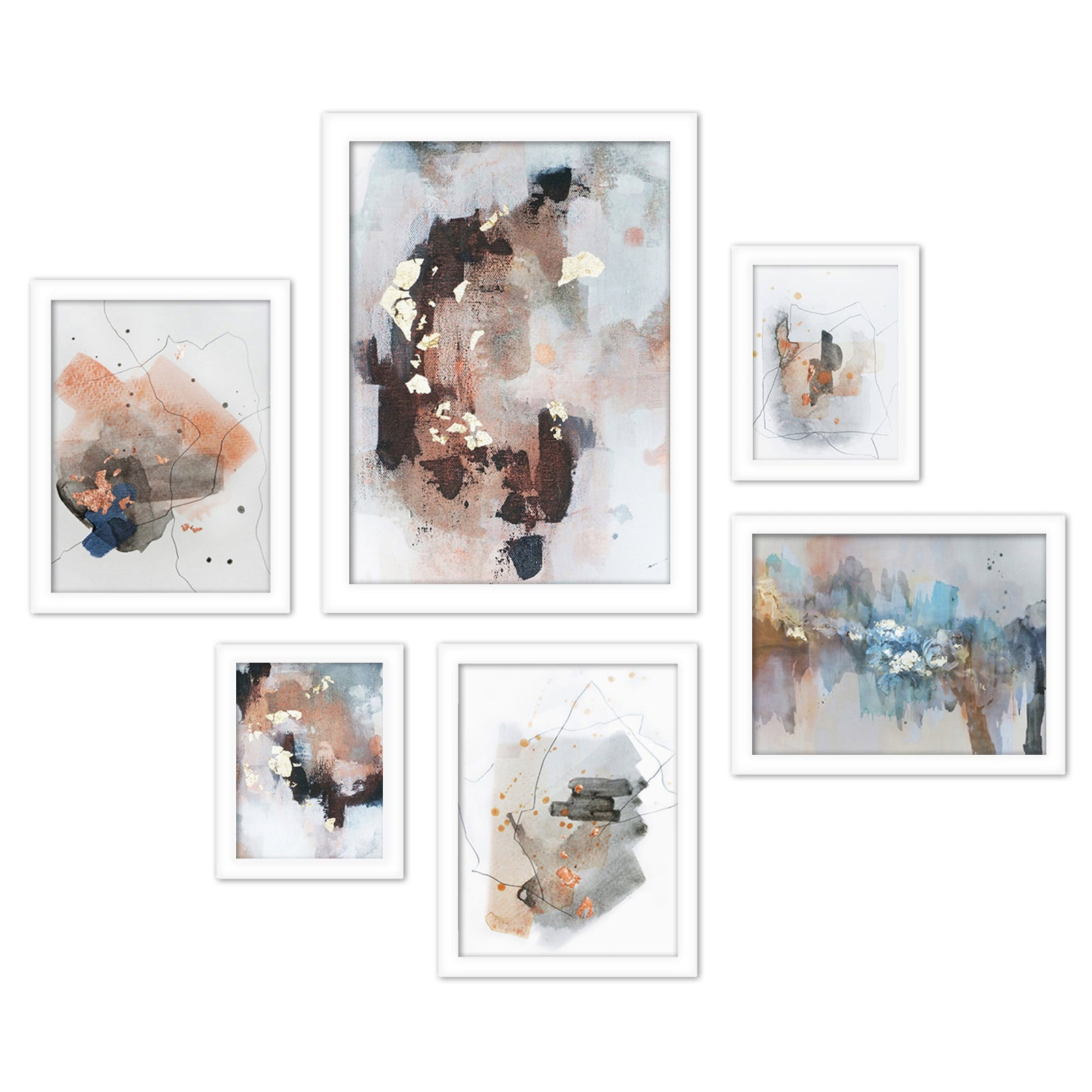Contemporary Abstract Blush Tones Framed Art Set - Art Set - Americanflat