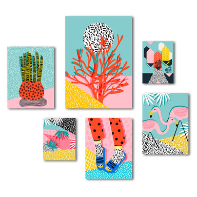 Funky Modern Tropical Graphic Art Canvas Set - Wrapped Canvas - Americanflat