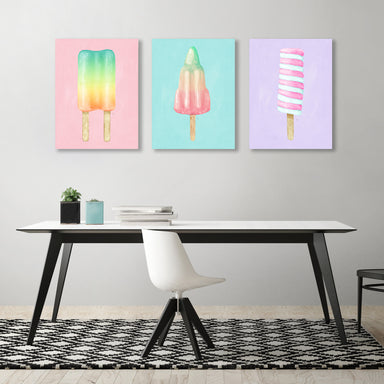 Pastel Popsicles by Tracie Andrews - 3 Piece Wrapped Canvas Set - Wrapped Canvas - Americanflat