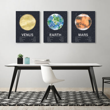 Planets + Earth by Tracie Andrews - 3 Piece Wrapped Canvas Set - Wrapped Canvas - Americanflat
