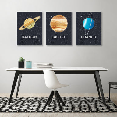 Planets by Tracie Andrews - 3 Piece Wrapped Canvas Set - Wrapped Canvas - Americanflat