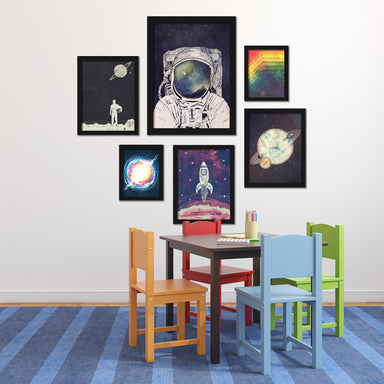 Outer Space Astronaut Framed Art Set - Art Set - Americanflat