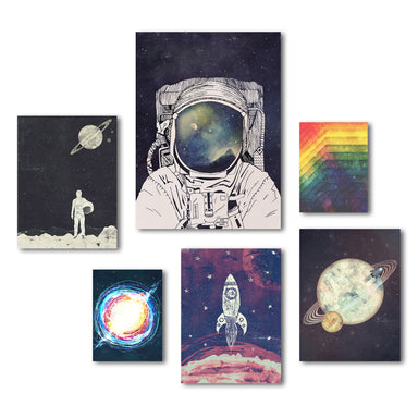 Outer Space Astronaut Canvas Art Set - Wrapped Canvas - Americanflat
