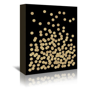 Gold Glitter Dots by Charlotte Winter Wrapped Canvas