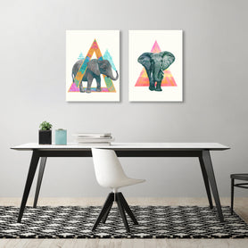 Elephant by Laura Graves  - 2 Piece Gallery Wrapped Canvas Set