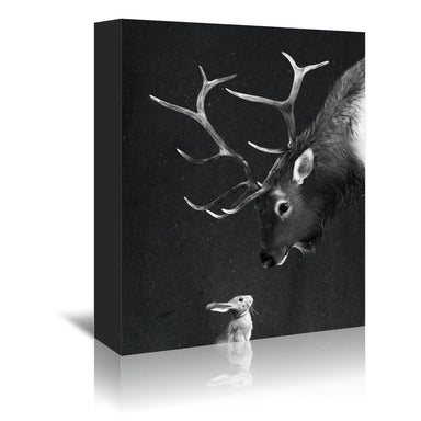 Elk & Rabbit by Laura Graves Wrapped Canvas - Wrapped Canvas - Americanflat