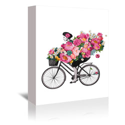 Floral Bicycle by Laura Graves Wrapped Canvas