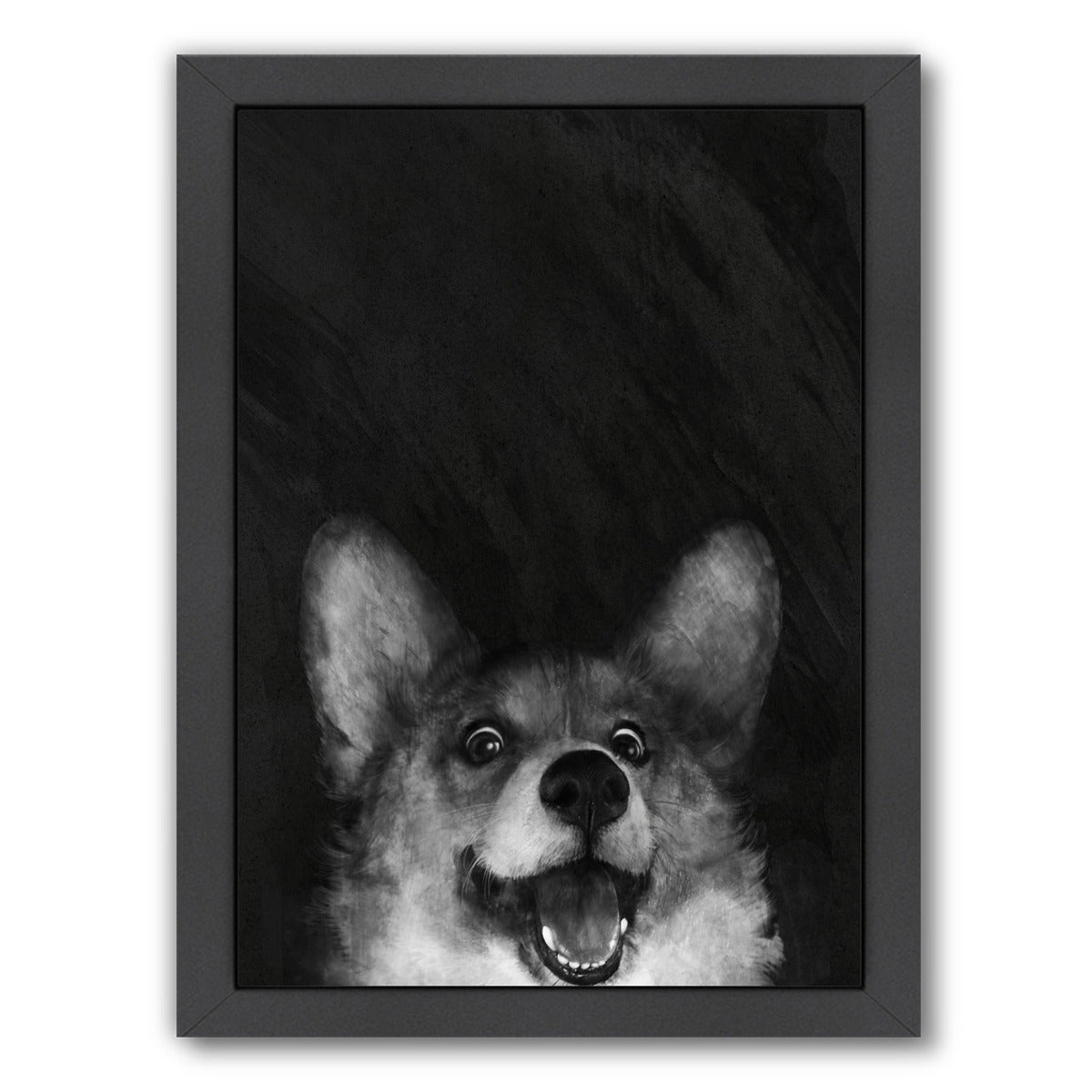 Sausage Fox corgi by Laura Graves Framed Print - Americanflat