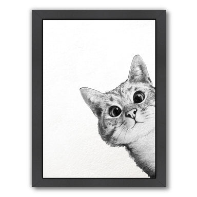 Sneaky Cat by Laura Graves Black Framed Print - Americanflat