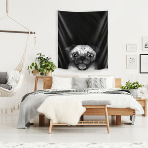 Snuggle Pug by Laura Graves Tapestry
