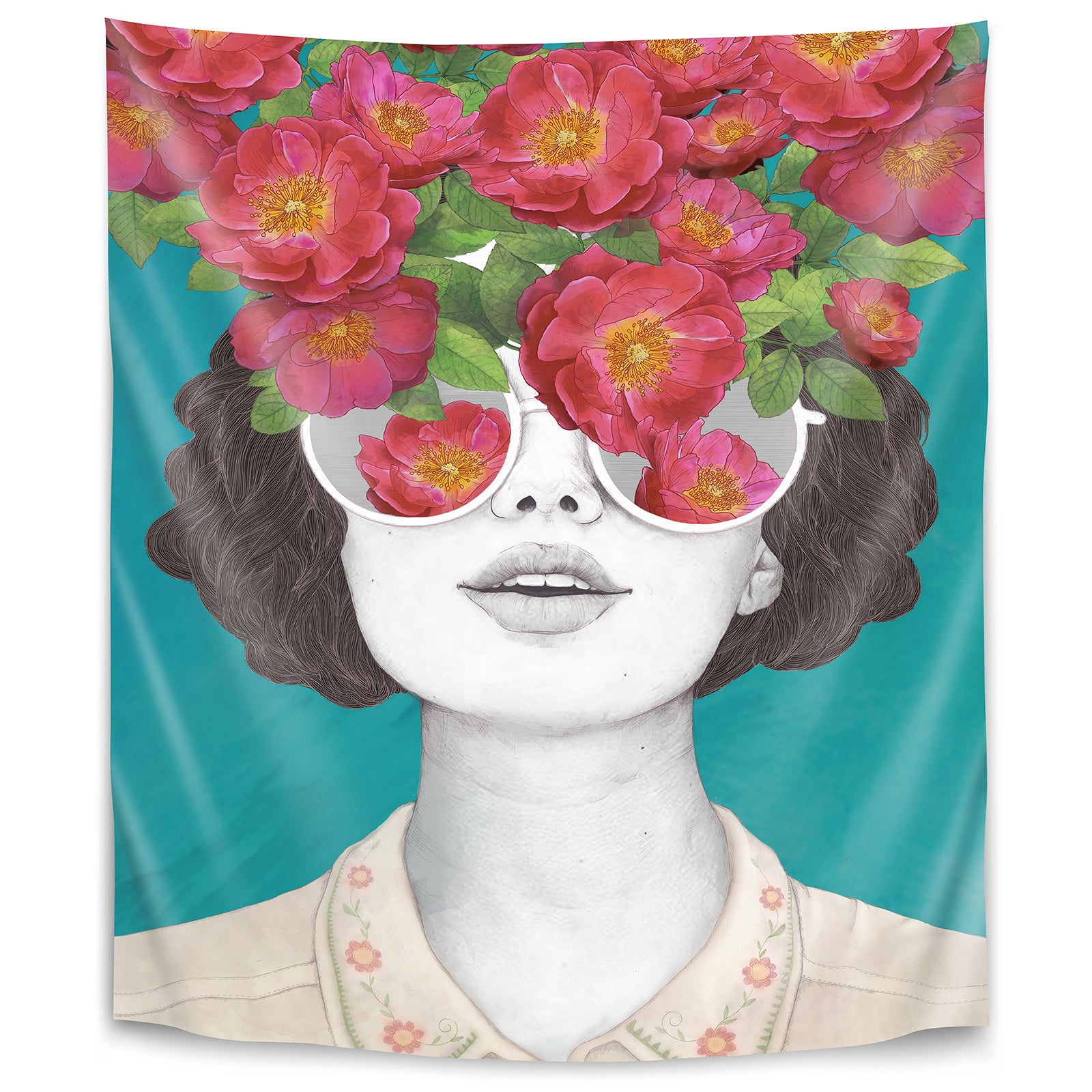 The Optimist Rose Tinted Glasses By Laura Graves Tapestry Americanflat