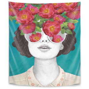The Optimist Rose Tinted Glasses by Laura Graves Tapestry