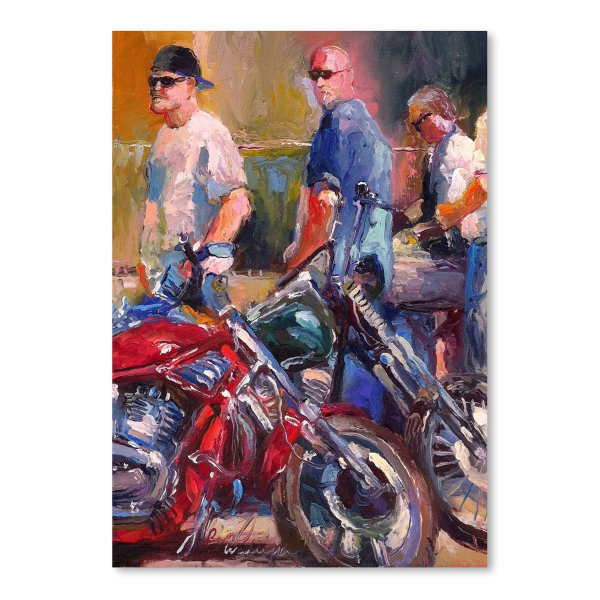 Bikers by Richard Wallich Art Print - Art Print - Americanflat