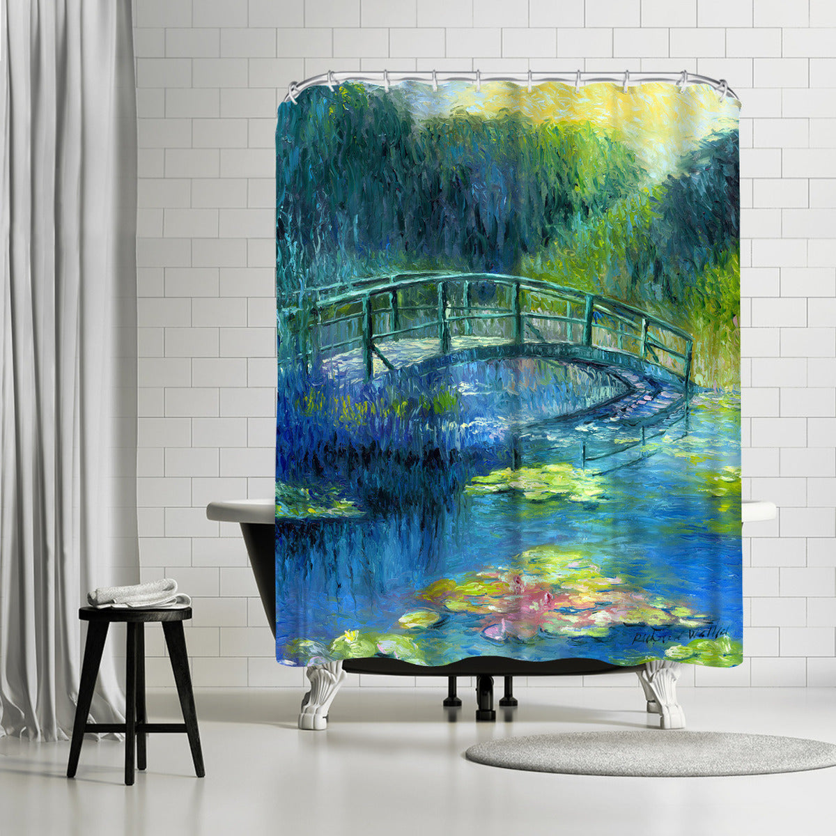 Lilies 3 by Richard Wallich Shower Curtain -  - Americanflat