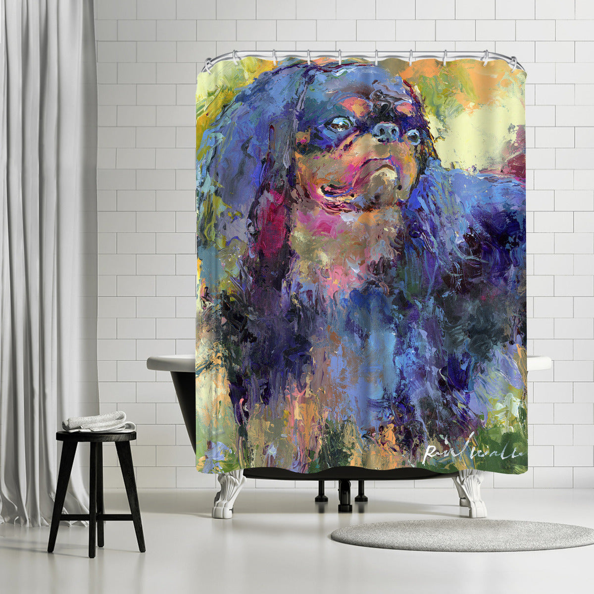 Toy Spaniel by Richard Wallich Shower Curtain -  - Americanflat