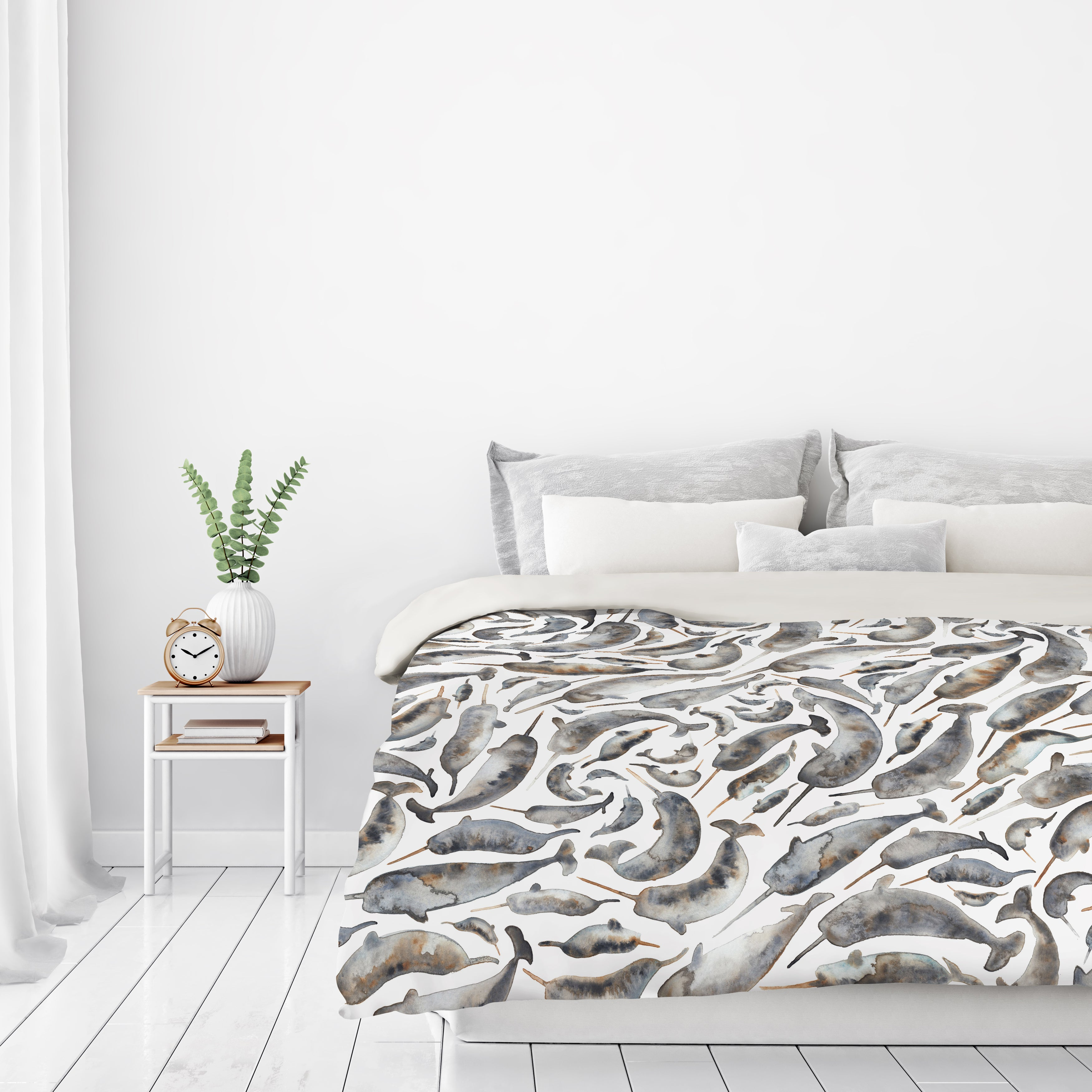 Narwhals by Elena O'Neill Duvet Cover - Duvet Covers - Americanflat