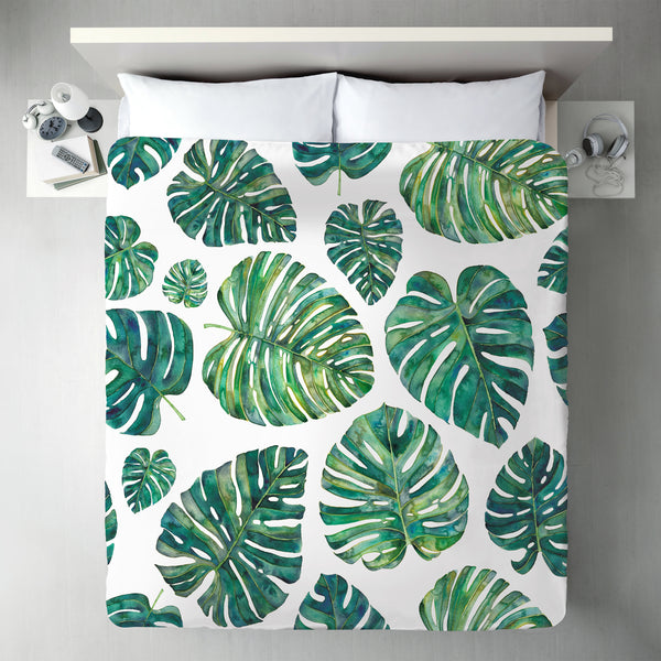 Tropical Leaves by Elena O'Neill Duvet Cover