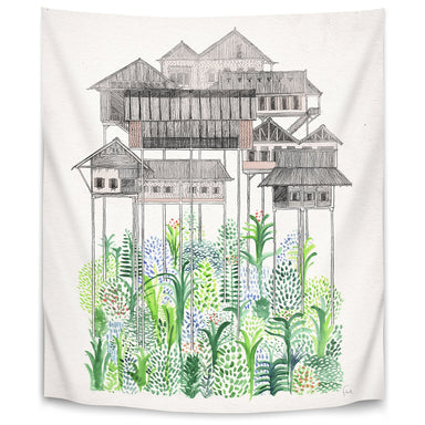 Cambodian Stilts by David Fleck Tapestry - Wall Tapestry - Americanflat