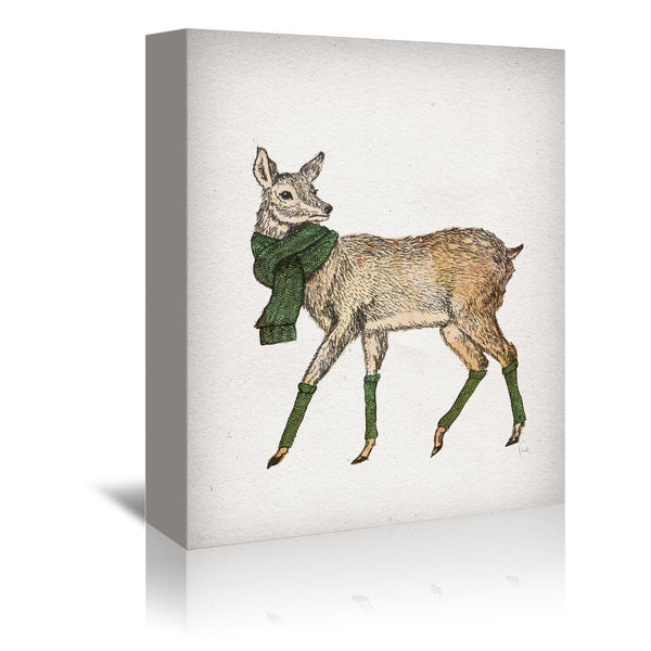 Deer by David Fleck Wrapped Canvas