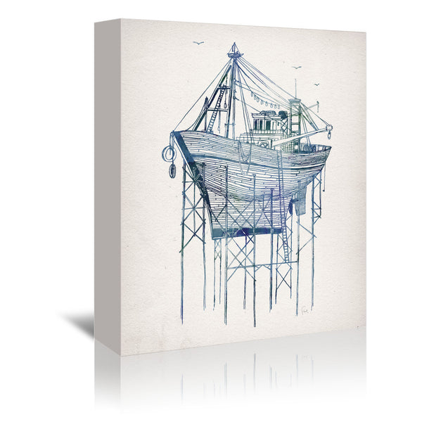 Dry Dock 1 by David Fleck Wrapped Canvas